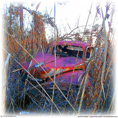Digital Art - Old Pink Car In The Weeds by K Scott Teeters