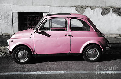 1940-1980 Retro-styled Imagery Photograph - Old Pink Fiat 500 by Stefano Senise