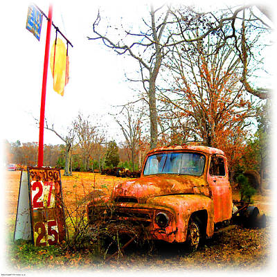 Digital Art - Old Pink Truck - Cheap Gas  by K Scott Teeters