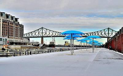 Montreal Winter Scenes Photograph - Old Port Blue Umbrellas - Montreal by Jeremy Hall