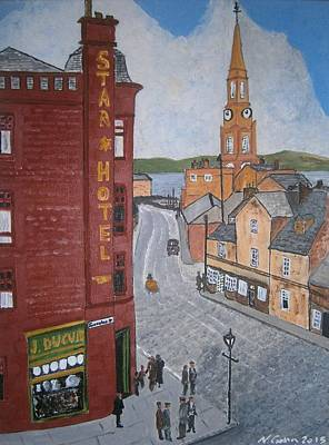 Old Port Glasgow Town Clock Original by Neal Crossan