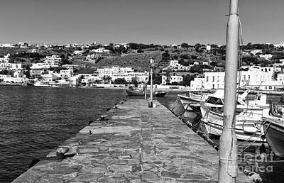 Old Port Walk In Mykonos Mono Art Print