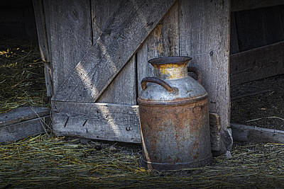 Photograph - Old Prairie Homestead Vintage Creamery Can By The Barn Door by Randall Nyhof