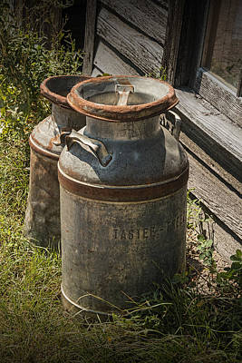 Photograph - Old Prairie Homestead Vintage Creamery Cans Near The Badlands by Randall Nyhof