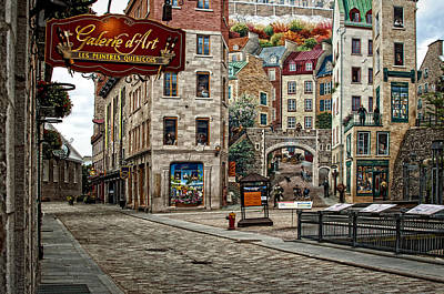 Photograph - Old Quebec City Street And Mural by Phil Cardamone