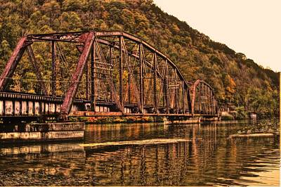 Art Print featuring the photograph Old Railroad Bridge With Sepia Tones by Jonny D
