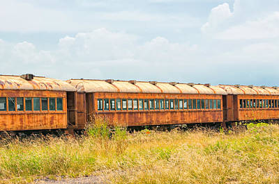 Photograph - Old Railroad Passenger Cars by Victor Culpepper