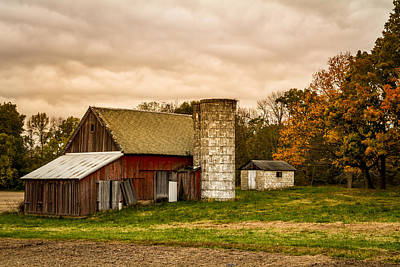 Photograph - Old Red Barn And Silo by Ron Pate