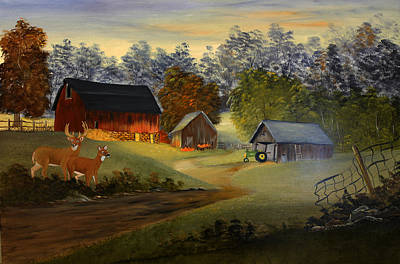 Buck And Doe Painting - Old Red Barn by Darlene Prowell