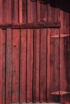 Knothole Photograph - Old Red Barn Door by Garry Gay