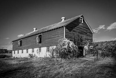 Photograph - Old Red Barn Fall Foliage Sussex County New Jersey Painted Bw      by Rich Franco