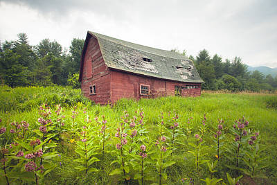 Photograph - Old Red Barn In A Field - Rustic Landscapes by Gary Heller