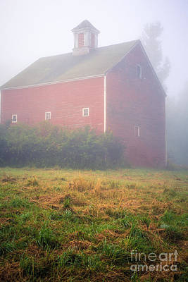 Red Roof Photograph - Old Red Barn In Fog by Edward Fielding