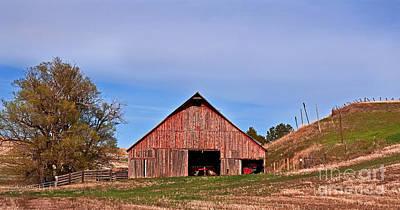Photograph - Old Red Barn Landscape by Valerie Garner