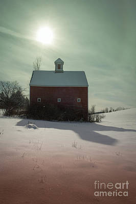 Photograph - Old Red Barn Long Shadow by Edward Fielding