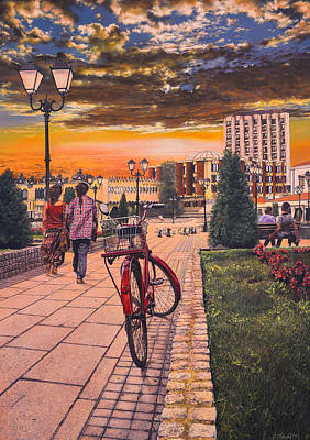 Old Red Bicycle At The Sunset Original by Bekim Mehovic