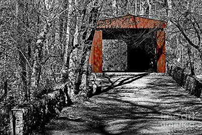 Germantown Photograph - Old Red Bridge by Tom Gari Gallery-Three-Photography