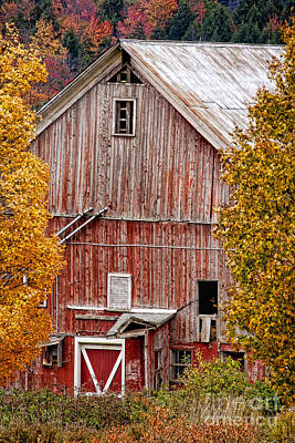 Photograph - Old Red Country Barn In The Autumn. by Don Landwehrle