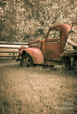 Rusty Old Trucks Photograph - Old Red Farm Truck by Edward Fielding