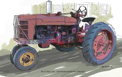 Painting - Old Red Farmall Tractor by RG McMahon