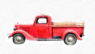 Annual Photograph - Old Red Ford Pickup by Edward Fielding