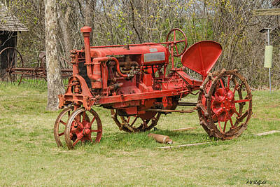 Photograph - Old Red Tractor by Allen Sheffield