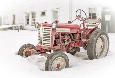 Separation Photograph - Old Red Tractor In The Snow by Edward Fielding