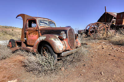 Photograph - Old Red Truck In Jerome Az by James Steele