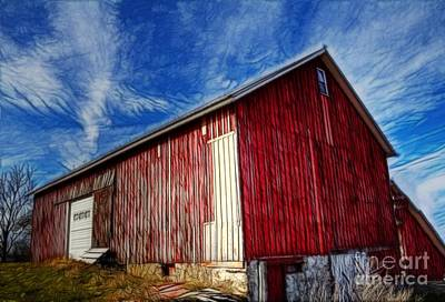 Old Red Wooden Barn Art Print