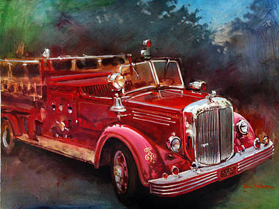 Old Fire Trucks Painting - Old Reliable by Dan Nelson