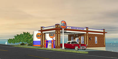 Digital Art - Old Retro Gulf Gas Station by Walter Colvin