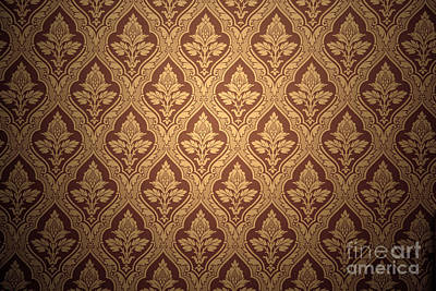 Historical Photograph - Old Retro Wallpaper In Sepia by Michal Bednarek