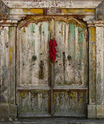 Photograph - Old Ristra Door by Kurt Van Wagner