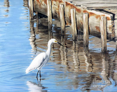 Old River Wharf In Matagorda Art Print by Jimmie Bartlett