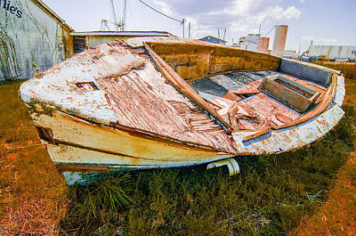 Old Rotten Abandoned Row Boat On Land Art Print