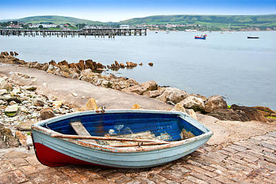 Swanage Pier Photograph - Old Rowing Boat On Launch Slipway Of Seaside Town by Matthew Gibson