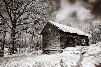 Art Print featuring the photograph Old Rural Barn In A Winter Landscape by Christian Lagereek