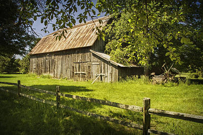 Old Rustic Barn And Wooden Fence Art Print by Randall Nyhof