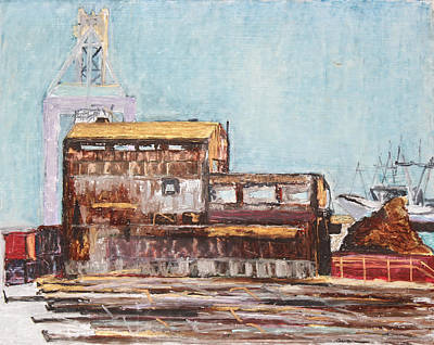 Painting - Old Rustic Schnitzer Steel Building With Crane And Ship by Asha Carolyn Young