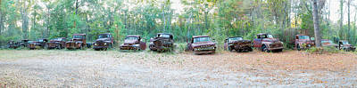 Antique Automobile Photograph - Old Rusty Cars And Trucks In A Field by Panoramic Images