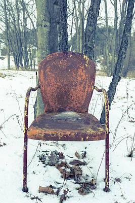 Photograph - Old Rusty Chair In The Woods by Edward Fielding