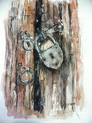 Painting - Old Rusty Lock by Stephanie Sodel