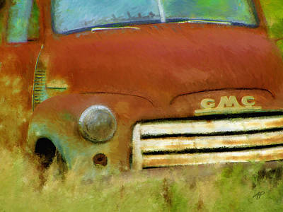 Impressionistic Digital Painting - Old Rusty Truck Impressionistic by Ann Powell