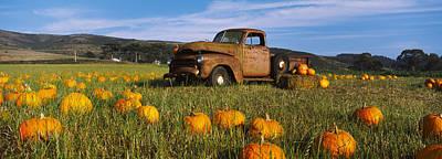 Old Rusty Truck In Pumpkin Patch, Half Art Print