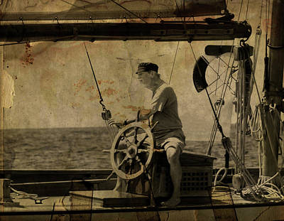 old sailor A vintage processed photo of a sailor sitted behind the rudder in Mediterranean sailing Art Print by Pedro Cardona