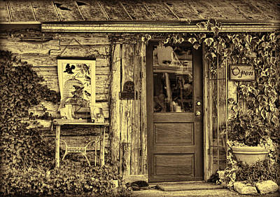 Stop Sign Photograph - Old Salado Log Cabin Shop Sepia by Linda Phelps