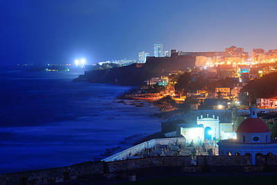 Photograph - Old San Juan At Night by Songquan Deng