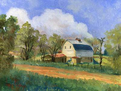 White Barn Painting - Old Saunders Barn by Jeff Brimley