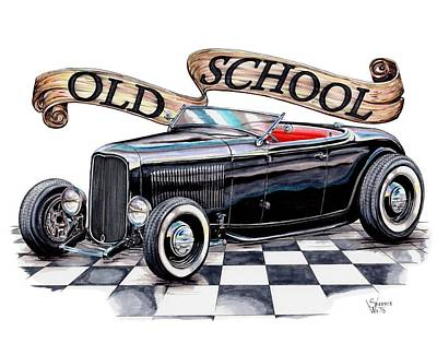 Roadster Drawing - Old School 32 Ford Roadster by Shannon Watts