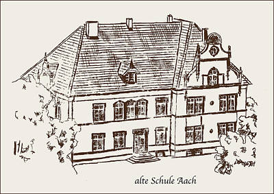 Old School House Drawing - Old School Aach by Michael Kuelbel